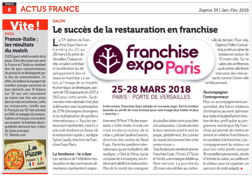 Dossier de presse : Le succès de la restauration en franchise